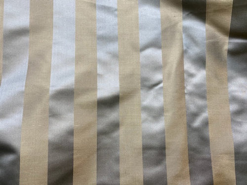 NEW 100% Silk Fabric Silver and Gold Stripes