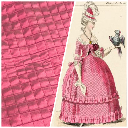 NEW 100% Silk Quilted Taffeta Fabric with Cotton Backing in Raspberry Pink