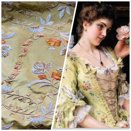 NEW Designer 100% Silk Taffeta Embroidery Fabric - Antique Yellow Gold Floral