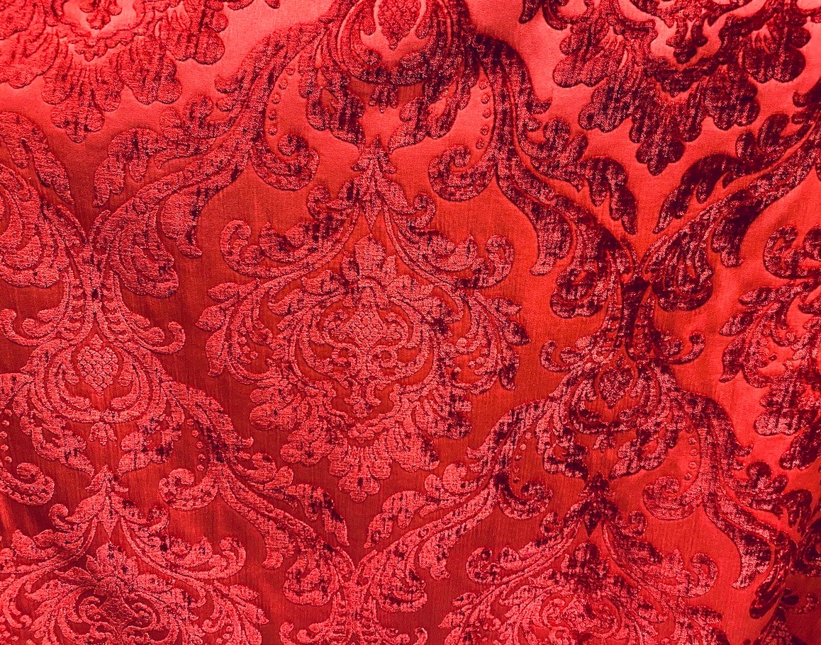 NEW Designer Double Sided Chenille Velvet Interior Design Fabric - Dark Red