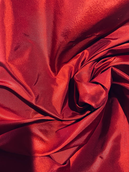 NEW Designer 100% Silk Taffeta Fabric - Dark Red