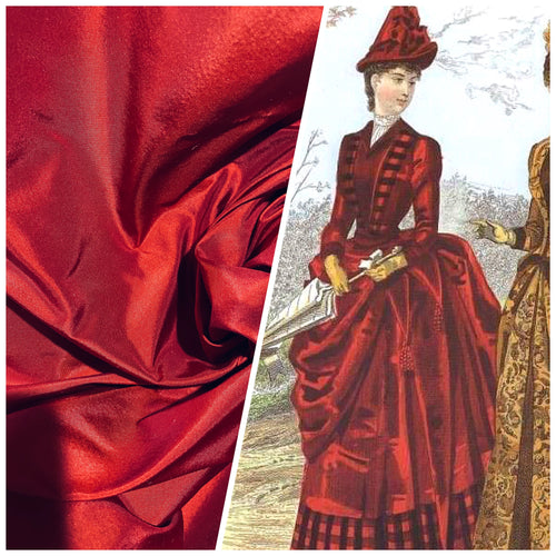 NEW Lady Lisa Designer 100% Silk Taffeta Fabric - Dark Red