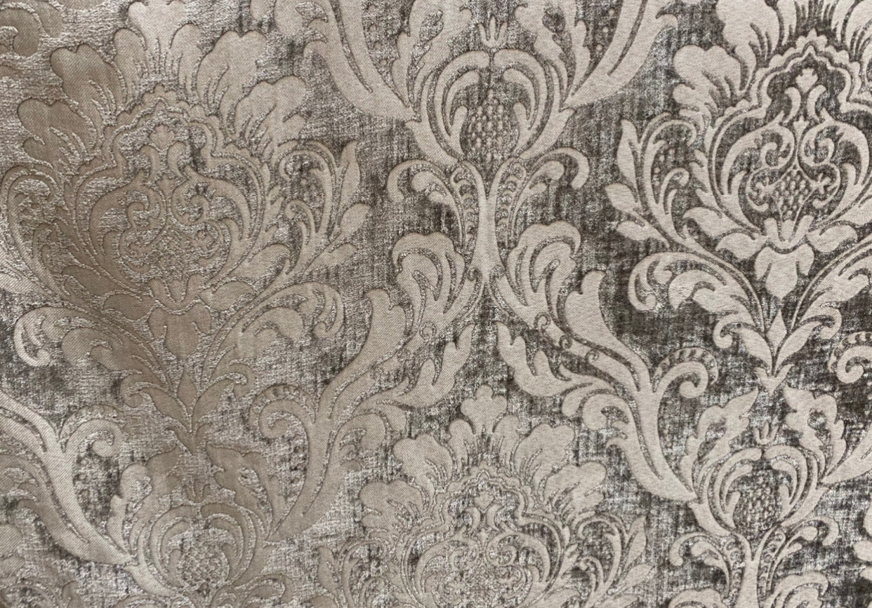 NEW Designer Double Sided Chenille Velvet Interior Design Fabric - Gray