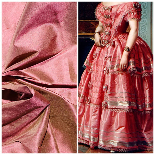 NEW Duchess Mable Designer 100% Silk Dupioni Fabric - Solid Copper Pink with Rosy Gold Iridescence