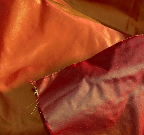 NEW Designer 100% Silk Taffeta - Red with Gold Iridescence