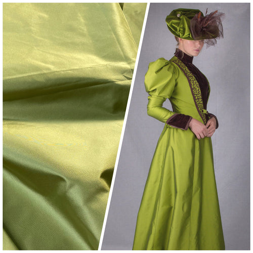 NEW Designer 100% Silk Taffeta Fabric - Solid Pistachio Green