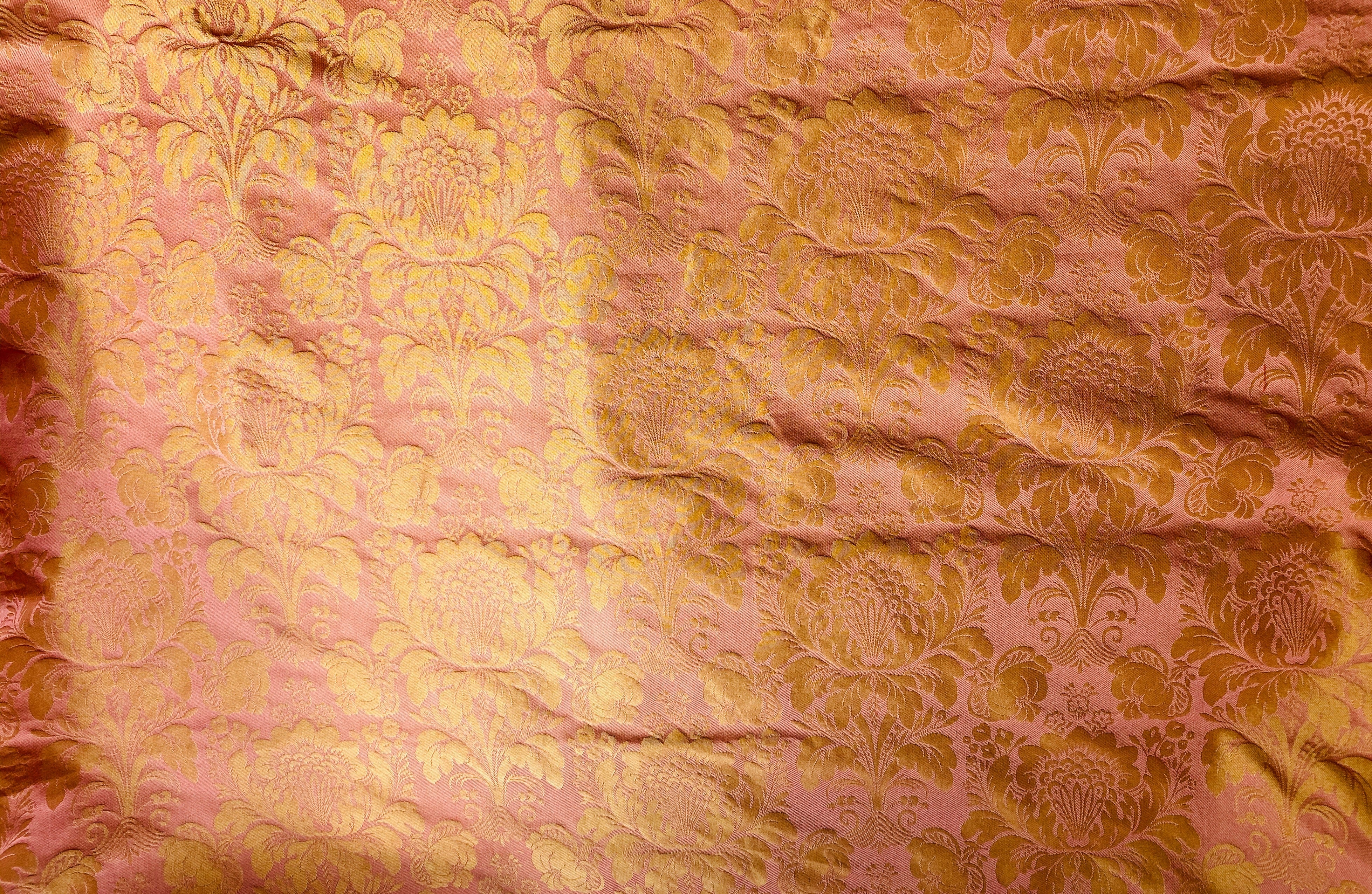 NEW Baroness Cassie Designer Brocade Drapery Damask Jacquard Fabric - Pink & Gold