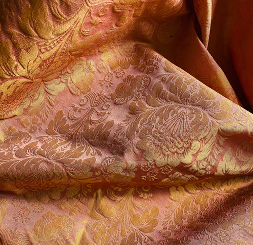 NEW Designer Brocade Drapery Damask Jacquard Fabric - Pink & Gold