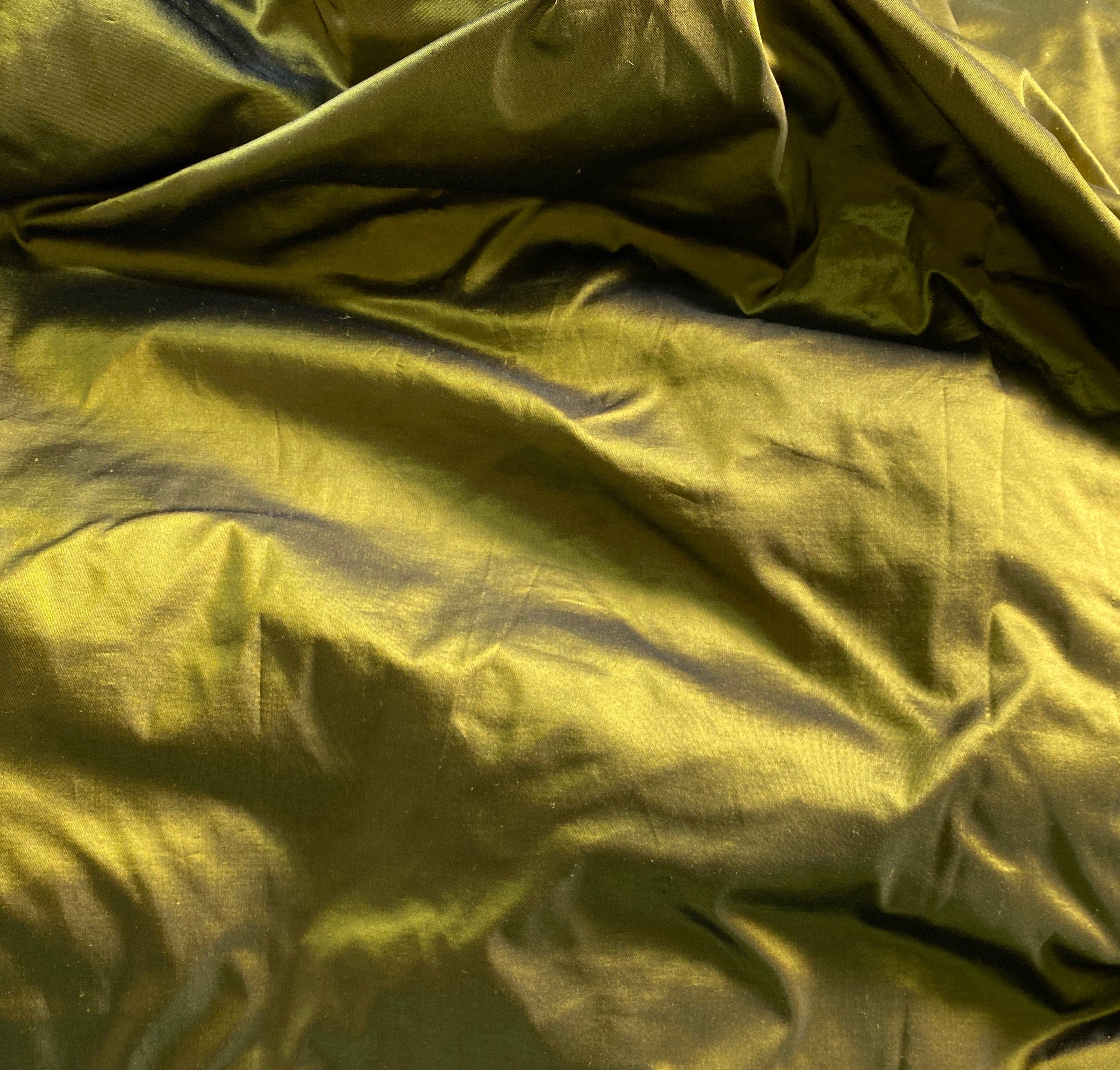 NEW Lady Lisa Designer 100% Silk Taffeta - Solid Olive with Black Iridescence