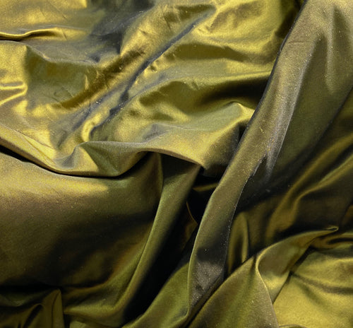 NEW Designer 100% Silk Taffeta - Solid Olive with Black Iridescence
