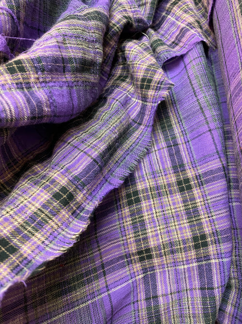 NEW Designer 100% Cotton Lightweight Gauze Plaid Tartan Fabric - Purple