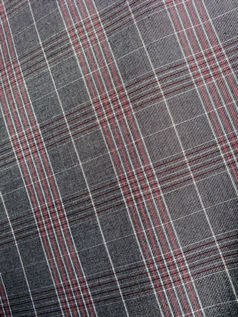 NEW Designer Plaid Tartan Medium Dress Weight Woven Fabric - Gray and Red