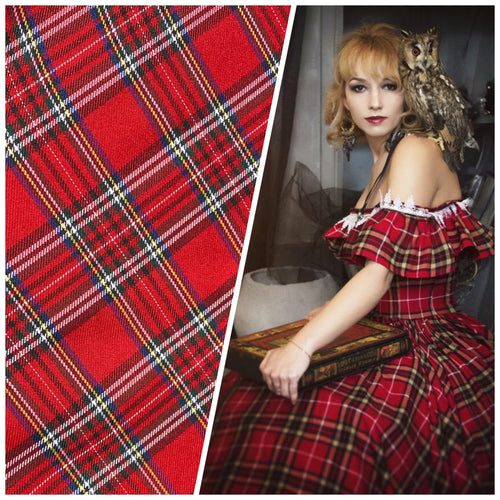 New Designer Plaid Tartan Medium Weight Woven Fabric - Red
