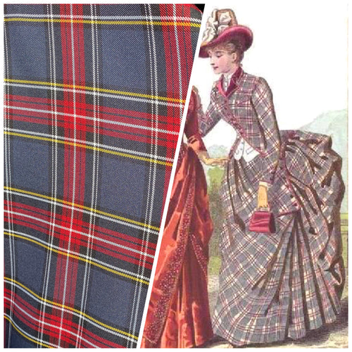NEW Designer Plaid Tartan Medium Dress Weight Woven Fabric - Gray, Red, Yellow, & Black