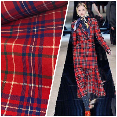 NEW Designer 100% Wool Plaid Tartan Medium Weight Woven Fabric - Red & Blue