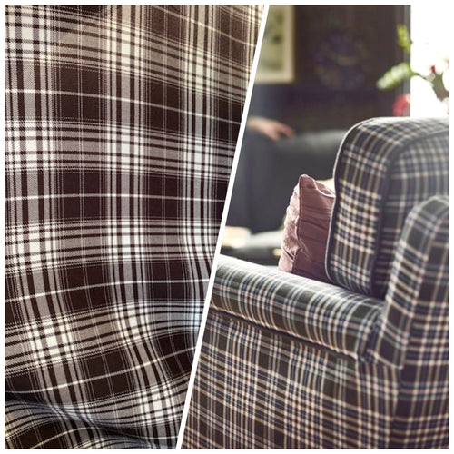 NEW Designer Plaid Tartan Medium Dress Weight Woven Fabric - Black & White