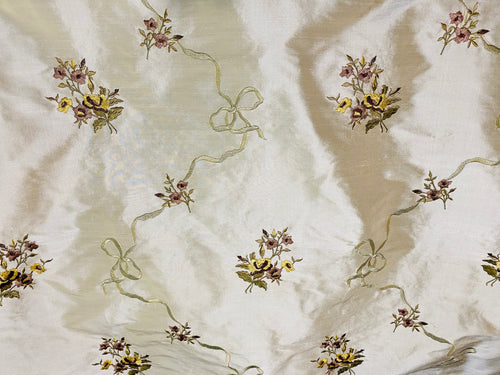 Princess Amelia Designer 100% Silk Dupioni Fabric - Eggshell Floral Bouquet with Bows