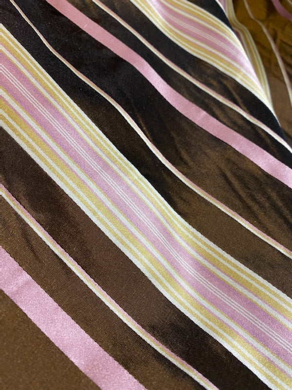 NEW Designer 100% Silk Taffeta - Chocolate Brown with Pink & Yellow Stripes