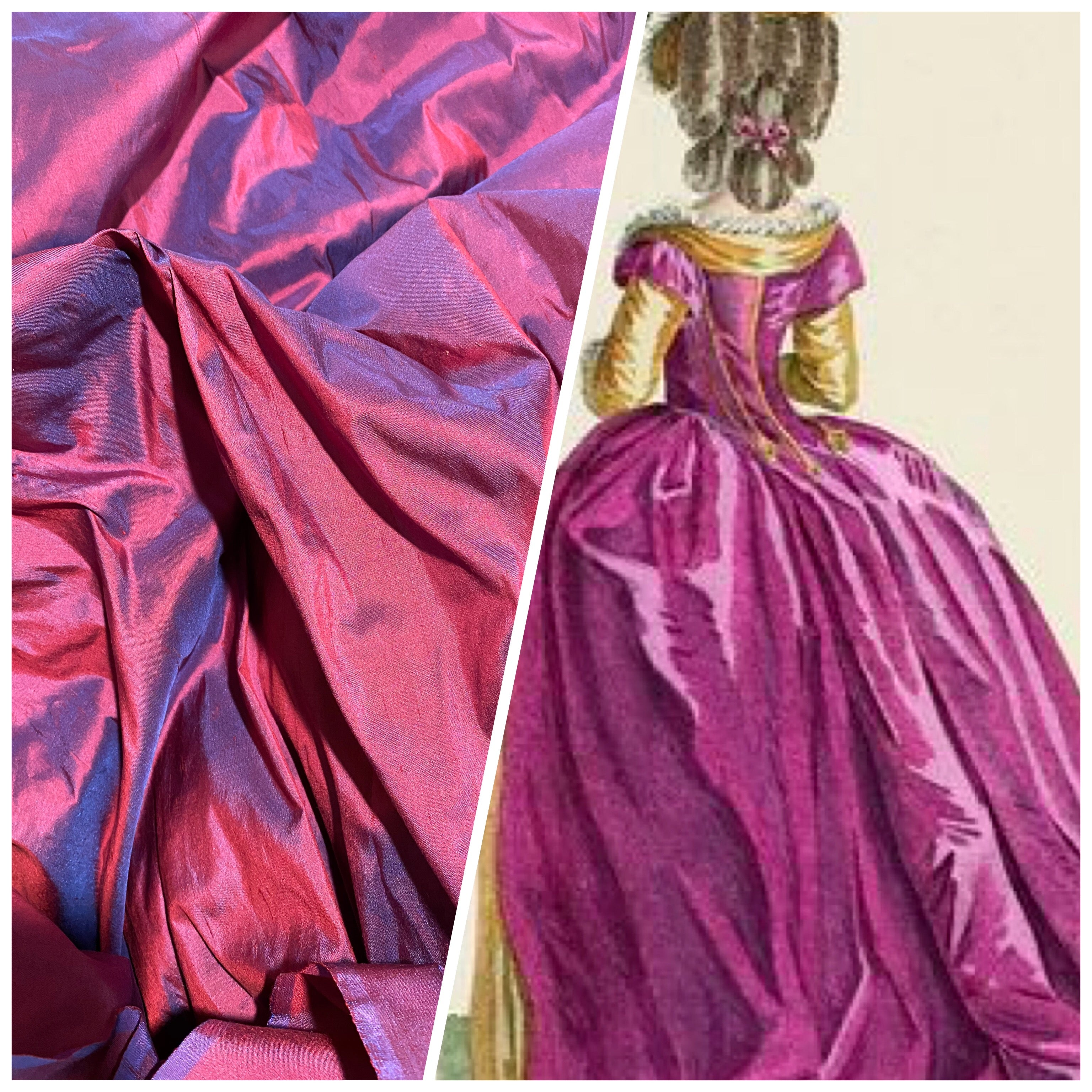 NEW Duchess Mable Designer 100% Silk Dupioni - Magenta with Electric Blue Iridescence