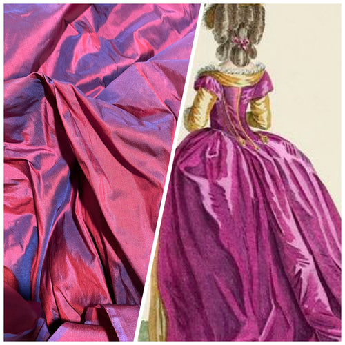 NEW Designer 100% Silk Dupioni - Magenta with Electric Blue Iridescence