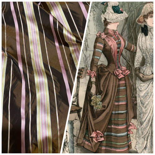 NEW Lady Grace Designer 100% Silk Taffeta - Chocolate Brown with Pink & Yellow Stripes