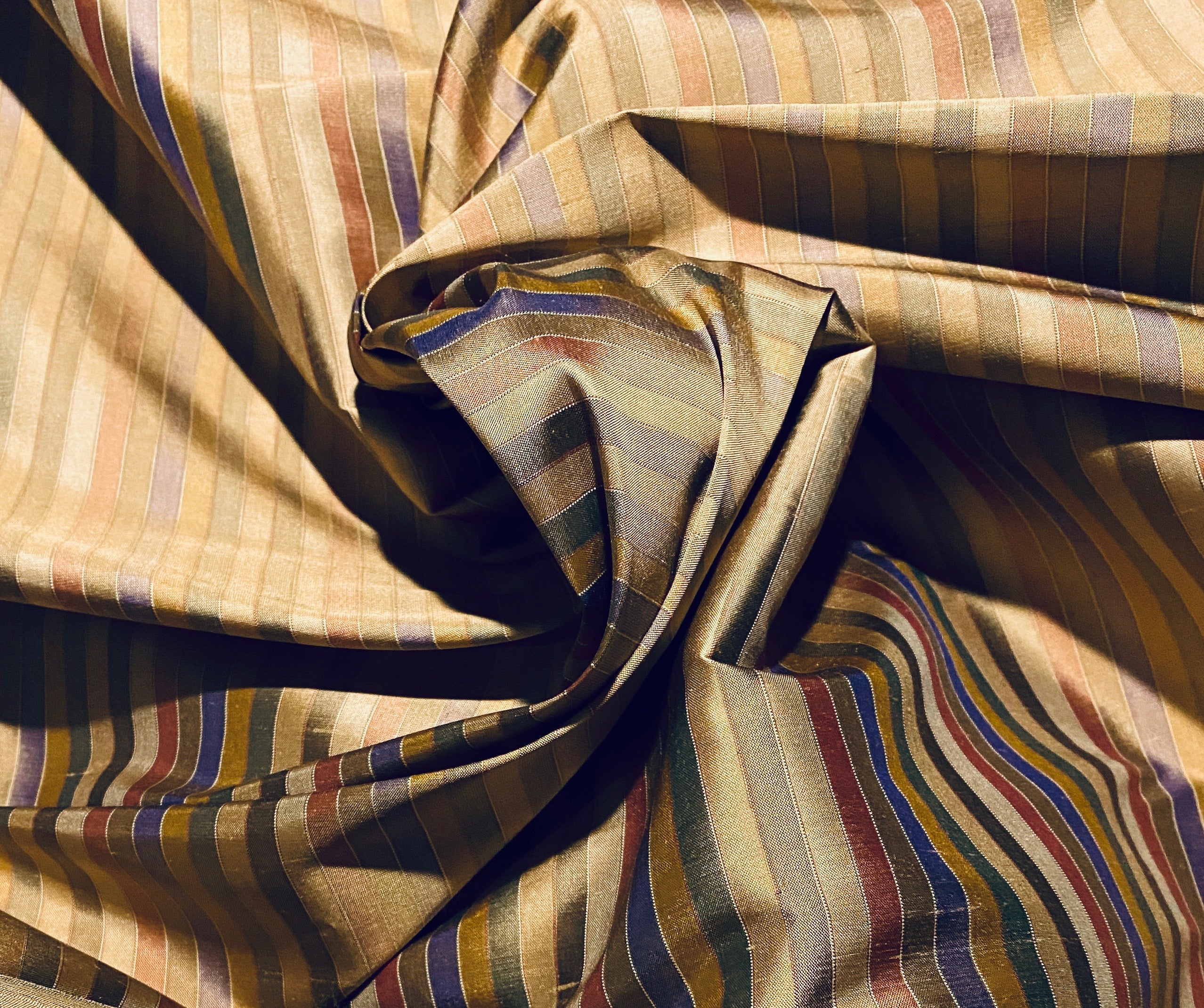 NEW Designer 100% Silk Taffeta - Blue, Green, & Bronze Stripes