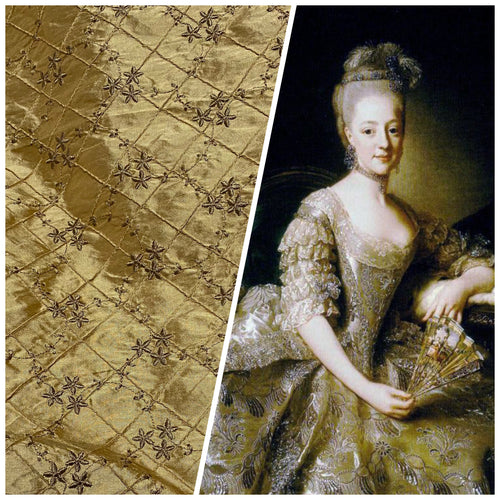 NEW! Queen Elisabeth 100% Silk Dupioni Embroidered Quilted Floral Fabric - Gold