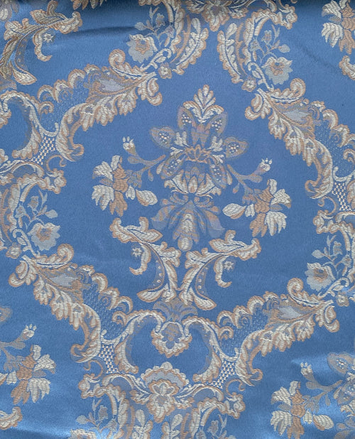 NEW Prince Lucas Designer Satin Damask Brocade Upholstery Drapery Sky Blue Fabric