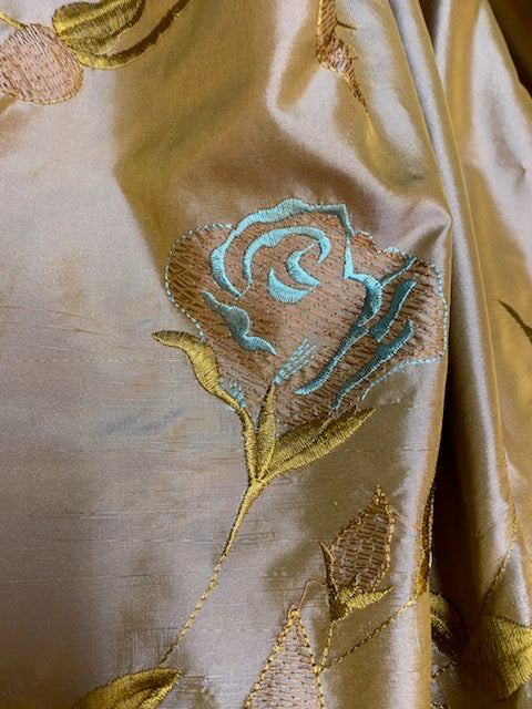 NEW Queen Margaery 100% Silk Taffeta Fabric Floral Embroidered Rose Chartreuse with Lavender Iridescence