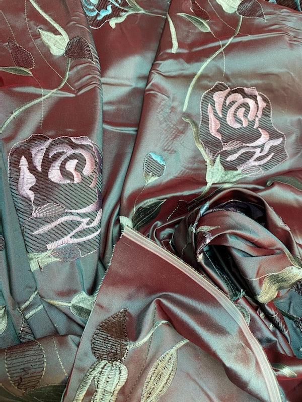NEW 100% Silk Taffeta Fabric Floral Embroidered Rose Red with Icy Blue Iridescence
