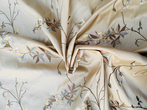 NEW Dauphine Lola 100% Silk Dupioni Embroidered Floral Cream Peach & Blue Fabric