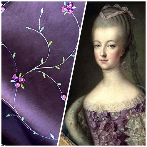 NEW Miss Jessica 100% Silk Dupioni Embroidered Floral Purple Pink and Green Fabric
