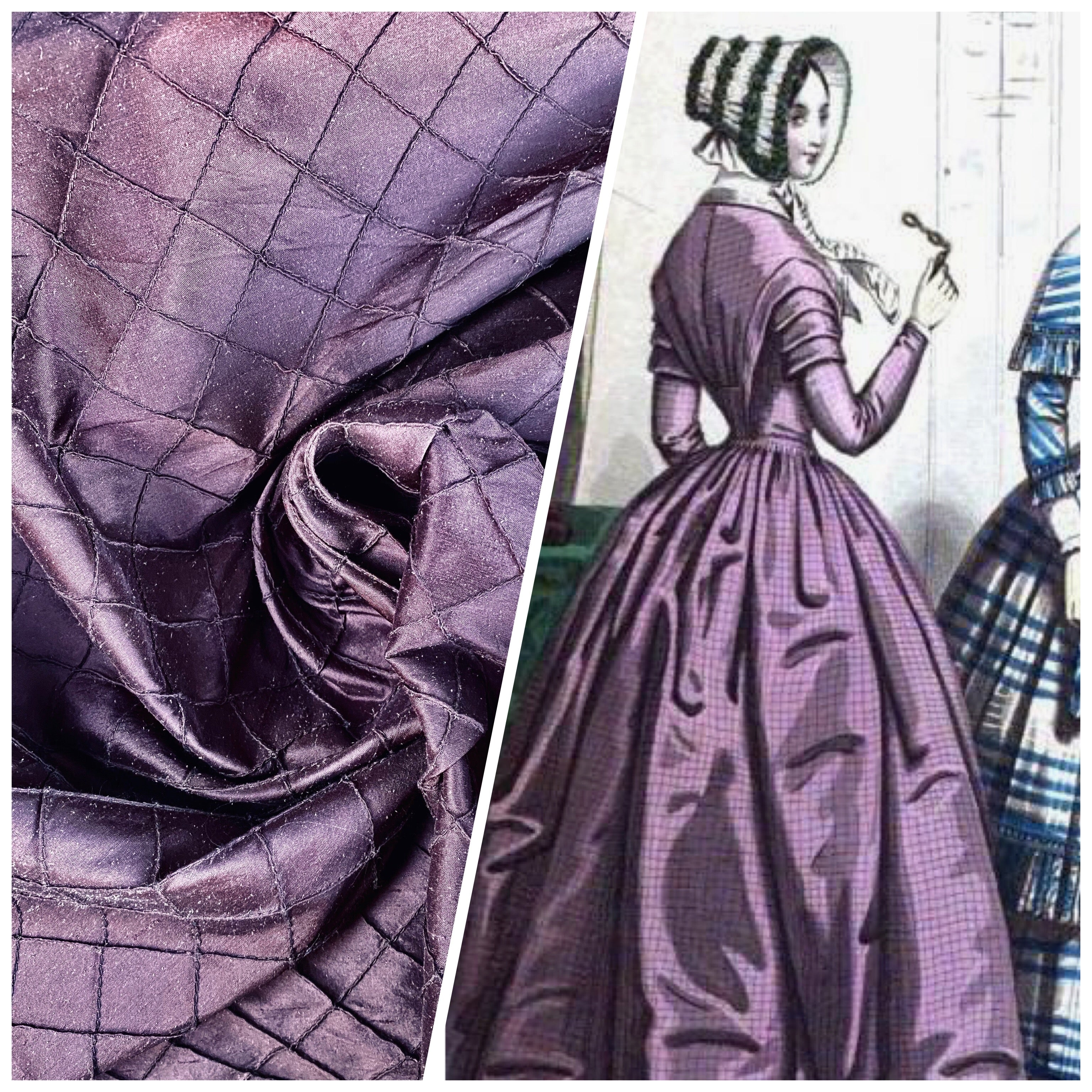 NEW Lady Morgan 100% Silk Dupioni Pintuck Diamond Dark Purple Fabric