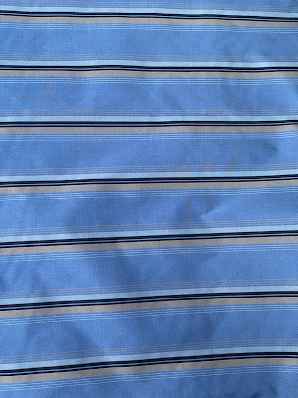 NEW Countess Shannon Designer 100% Silk Taffeta Blue Horizontal Stripe Fabric