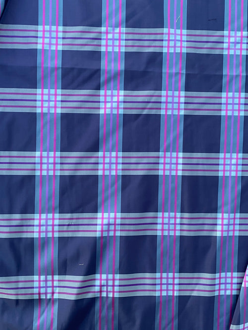 NEW Lady Alexandra Designer 100% Silk Taffeta Purple Fuchsia Pink Plaid Tartan Fabric