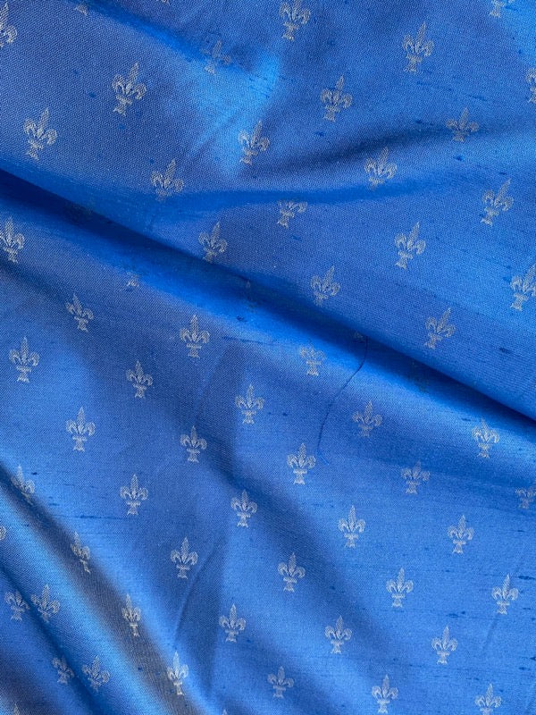 NEW Designer 100% Silk Fleur De Lis Blue Lining Fabric