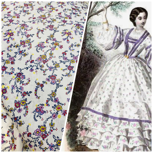 NEW Designer White Cotton Silk Floral Woven Dress Shirt Fabric