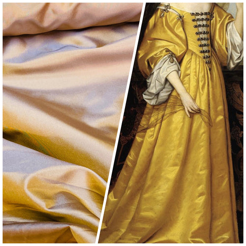 NEW Lady Lisa 100% Silk Taffeta Solid Chartreuse Gold & Lavender Iridescent Fabric