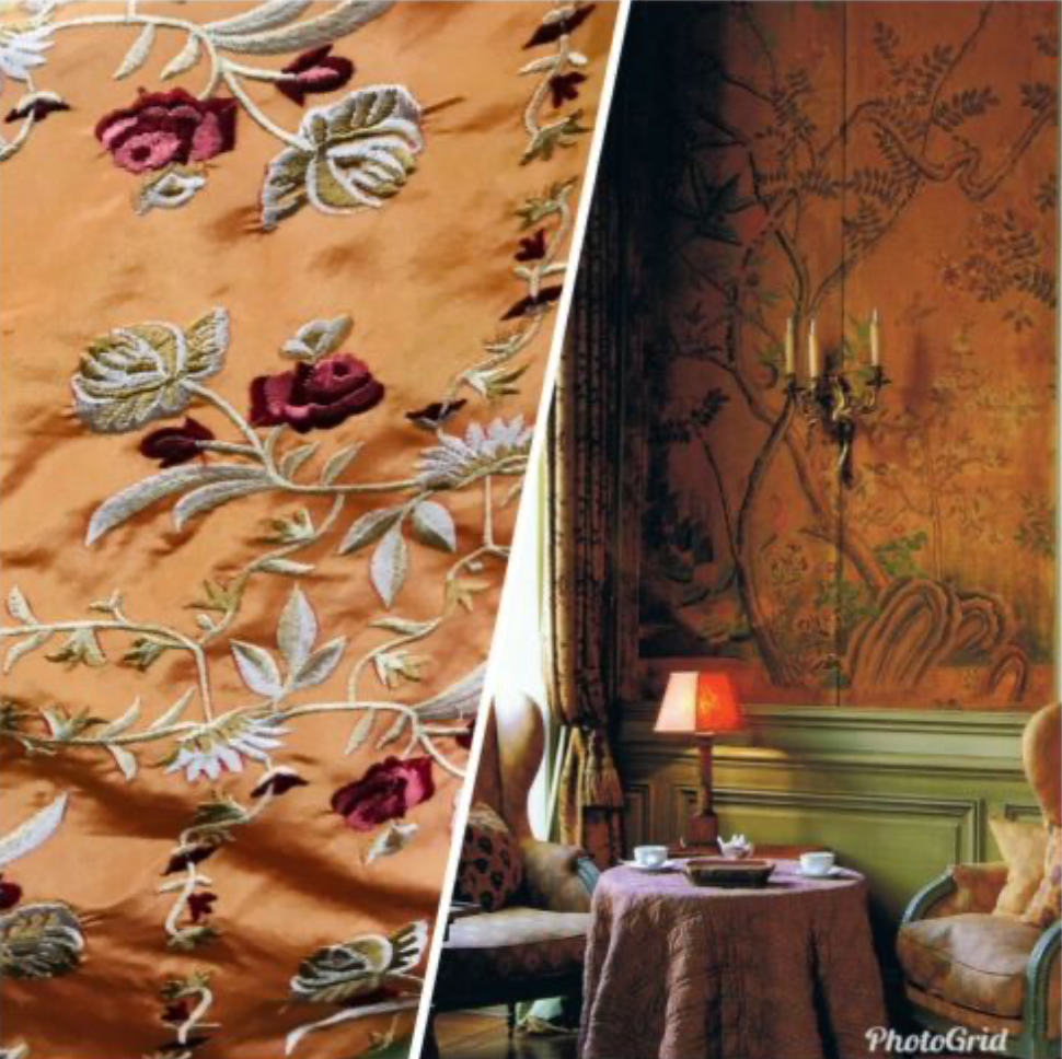 NEW! 100% Silk Dupioni Drapery Orange Embroidered Floral Fabric By The Yard