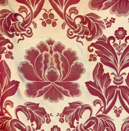 "Designer 100% Silk Brocade Fabric - 54"" Wide - Red- Damask - Fancy Styles Fabric Pierre Frey Lee Jofa"