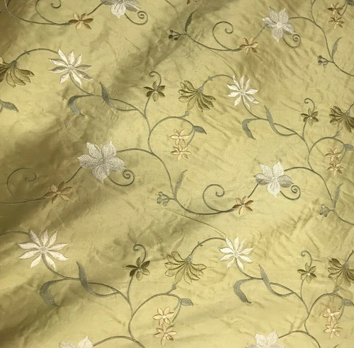 NEW! 100% Silk Dupioni Drapery Golden Yellow Embroidered Floral Fabric GFSUY0001