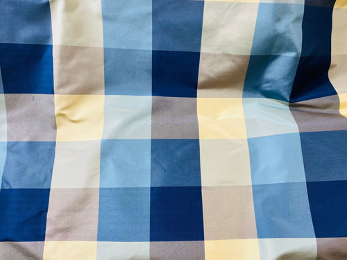 NEW- The Melissa- 100% Silk Taffeta Blue Gingham Check Fabric