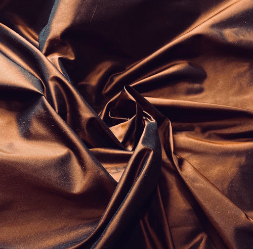 NEW Lady Lisa Designer 100% Silk Taffeta Fabric in Copper with Black Iridescence