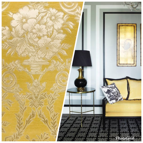 NEW! Lady Valerie Designer Brocade Satin Fabric - Yellow Neoclassical Floral Upholstery Damask