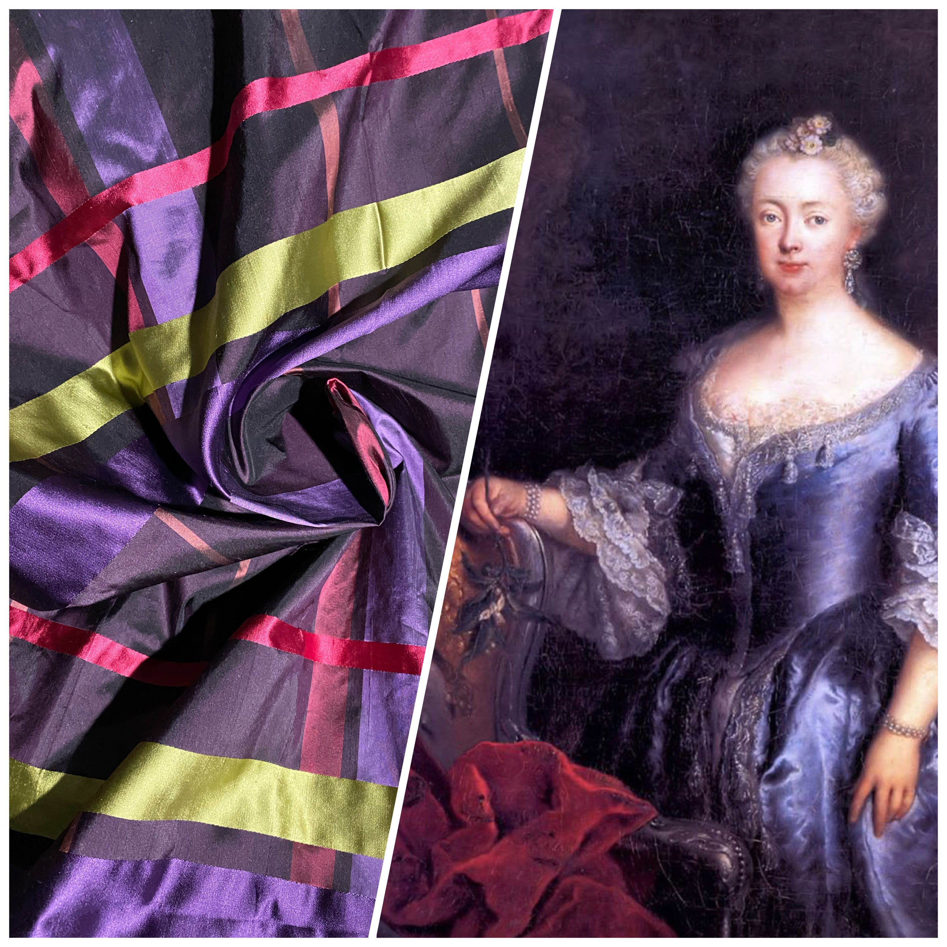 NEW Duchess Philippa Designer 100% Silk Dupioni Plaid Tartan Ribbon Fabric Purple