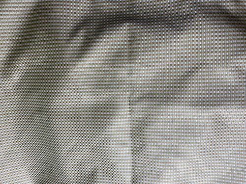 NEW 100% Silk Taffeta Basketweave Motif Fabric - Gold, Grey, Cream