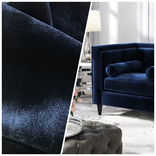 NEW Designer Made In Belgium Upholstery Velvet Fabric- Dark Blue