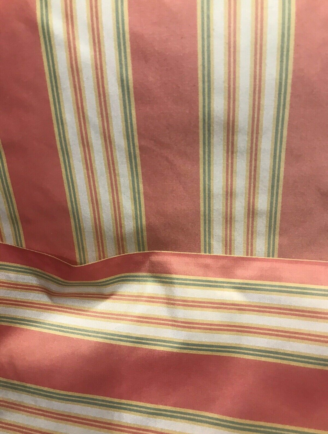 "Sample Swatch Designer 100% Silk Taffeta Dupioni Stripes Fabric - Pink 55"" Wide"