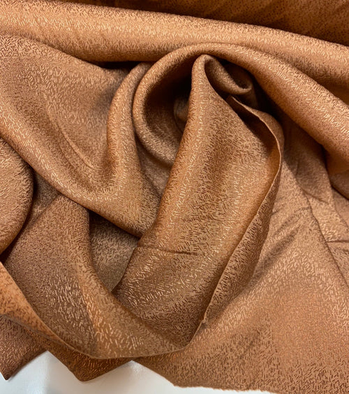 NEW Designer 100% Silk Textured Copper Charmeuse Fabric