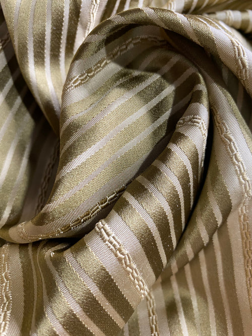 NEW 100% Silk Taffeta Stripe Ribbon Rope Gold Fabric -Drapery